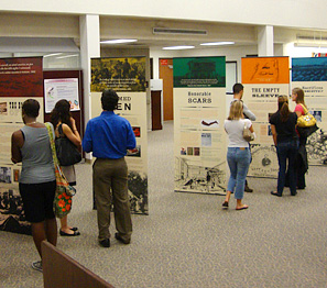 People view a traveling exhibiton in a library