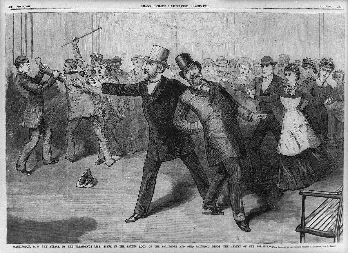 """The attack on the President's life—Scene in the ladies' room of the Baltimore and Ohio Railroad depot—The arrest of the assassin,"" Frank Leslie's Illustrated Newspaper, 1881 July 16, pp. 332-333 Courtesy Library of Congress"