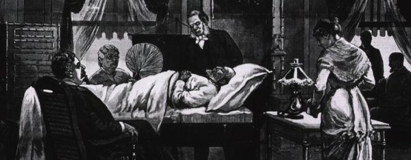 An illustration from a newspaper of the President's sickbed and attendants