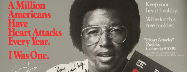 A public health poster on which Arthur Ashe holds up a booklet.