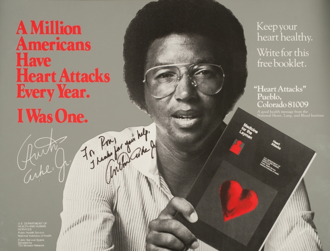 A public health poster on which Arthur Ashe holds up a booklet illustrated with a heart.
