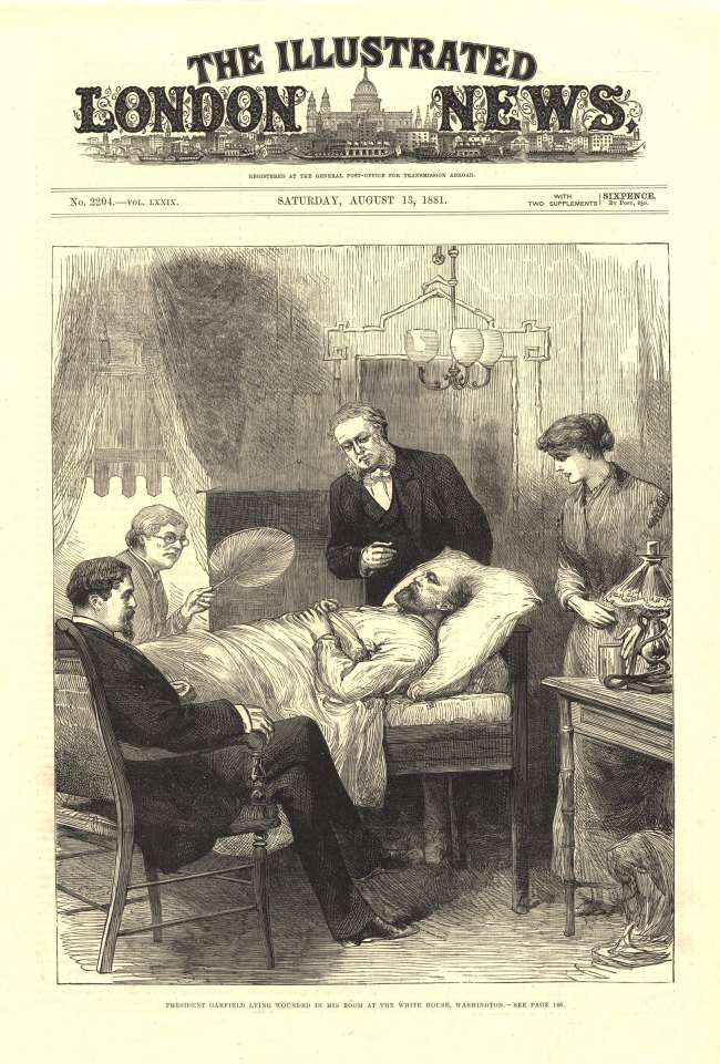 Front page of the Illustrated London News depicting Garfiled lying propped up in bed surrounded by family and physicians.