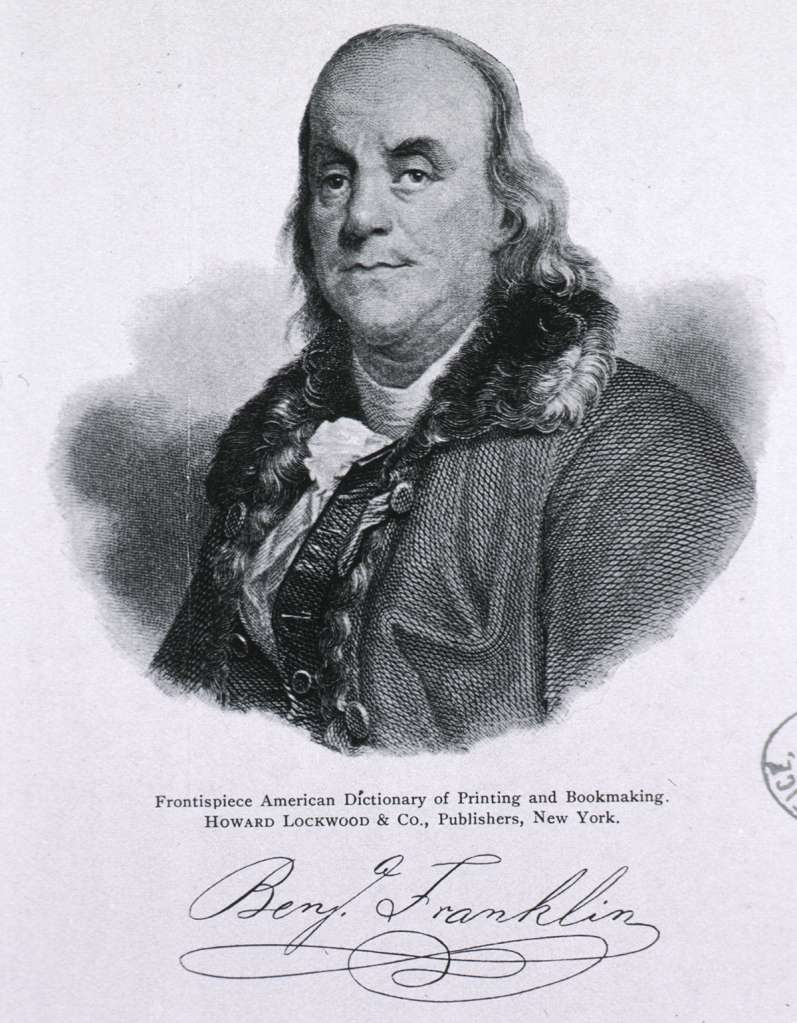 engraved portrait of Franklin with signature from the Frontispiece of the American Dictionary of Printing and Bookmaking
