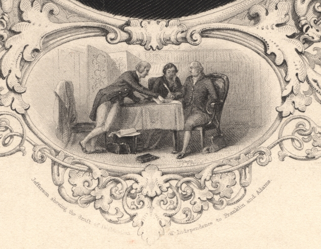 Three men discuss something on a table between them