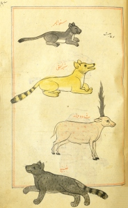 five handcolored animals that resemble cats, a dog and a unicorn.