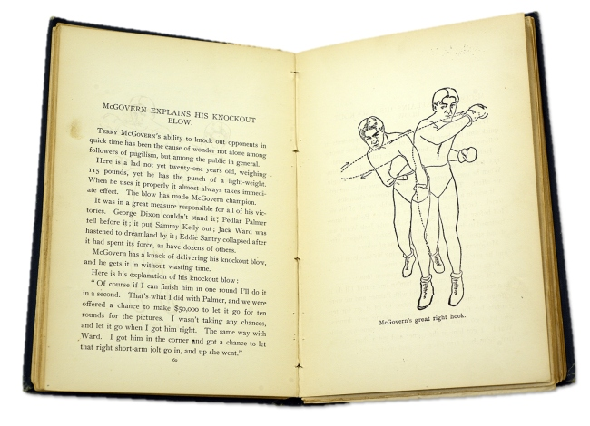 open book displaying a line drawing of McGovern's great right hook