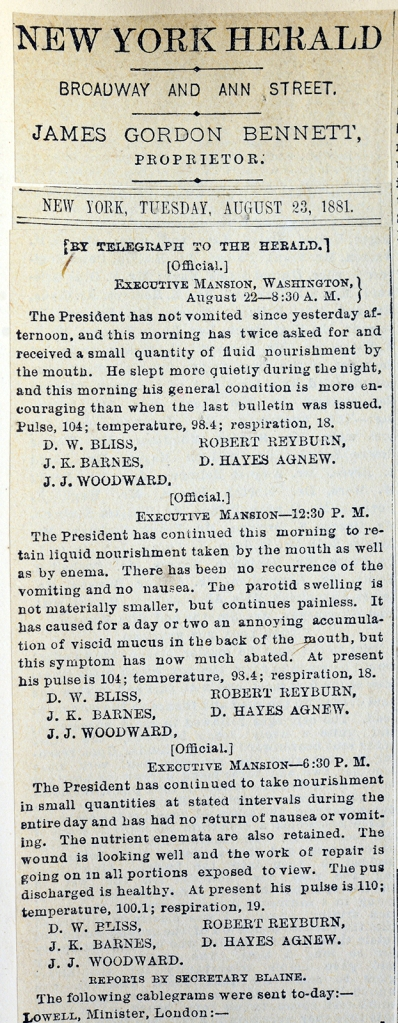 newpaper column from the New York Herald with the printed text of the August 22 bulletiin