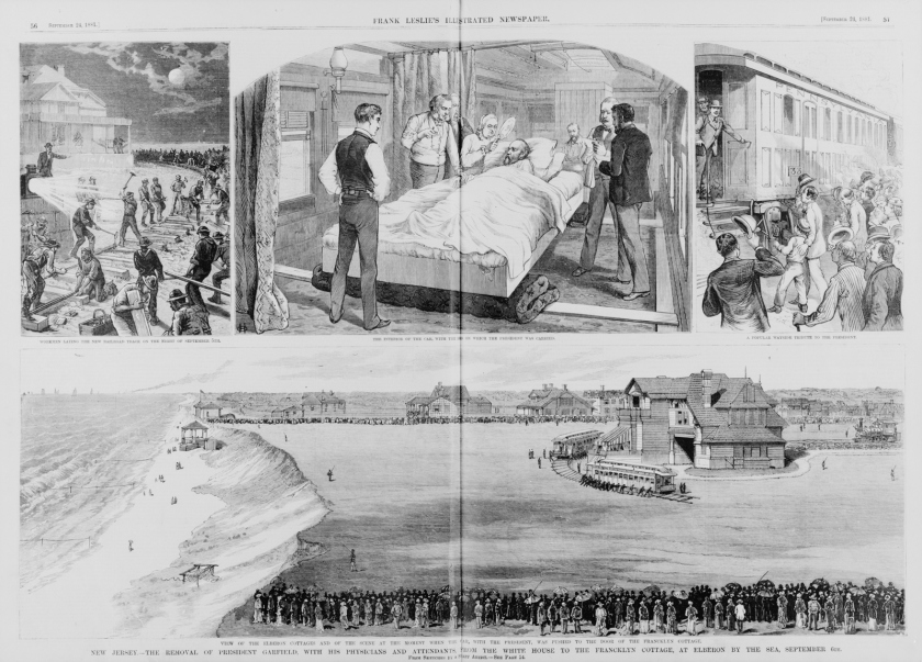 Four Newspaper Illustrations show men buidling the railway, Garfield's bed on the train, people greeting the train, and the train arriving at the house by the shore.
