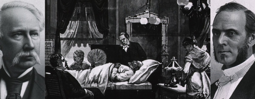 Portraits of Agnew and Bliss look in on the scene of Garfield on his sickbed