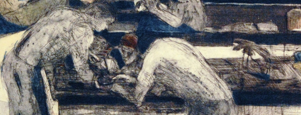 detail of engraving of two figures working over a table