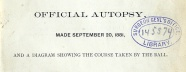 Detail of the title page of President Garfield's autopsy report stamped Surgeon General's Library.