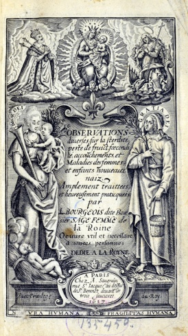 Engraved title page including the fleur de lis, two standing female figures, one with a baby, and religious imagery and text