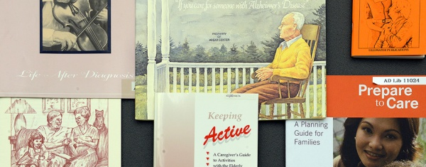 A collage of literature for caregivers of people with Alzheimer's Disase.