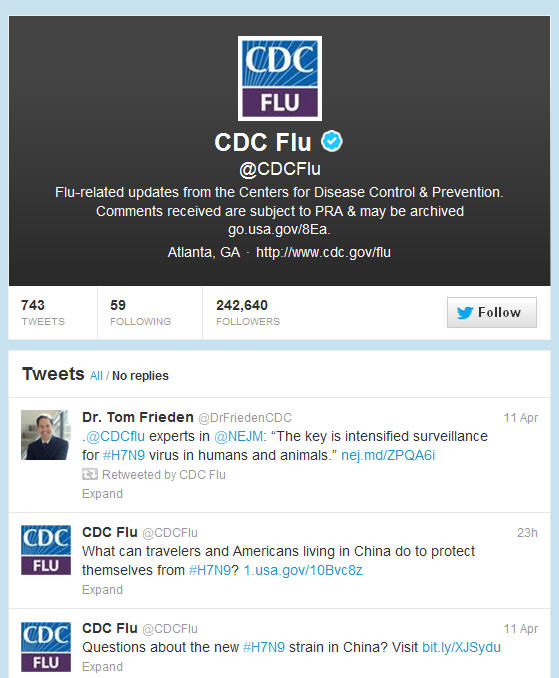 A screenshot of the CDC Flu twitter page from April 11