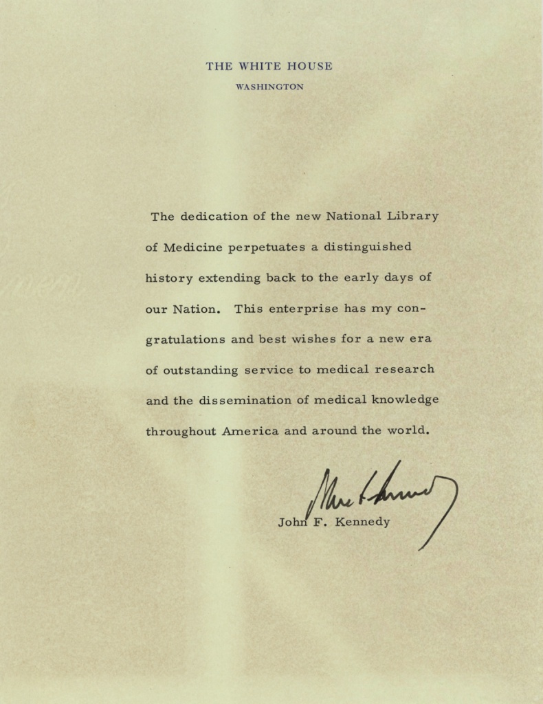 Letter of congratulations from Kennedy on the occasion of the dedication of the National Library of Medicine.