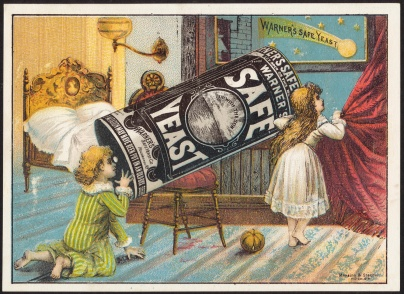 An illustration showing children looing at the stars using a canister of Warner's Safe Yeast as a telescope.