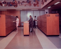 Two-sided card catalogs. On one side of the card catalog is for old subject entries for books cataloged before 1960 and on the other side is for new subject entries for books cataloged after 1959.