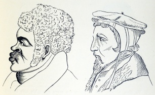 The profiles of a black man with a protruding face and mouth and a white man with a thin face and small recessed jaw.