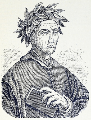 Engraved portrait of a thin, severe looking man wearing a laural crown and holding a book.