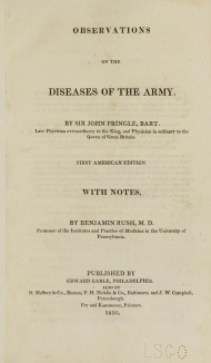 The Title Page of Pringle's Observations of the Diseases of the Army.