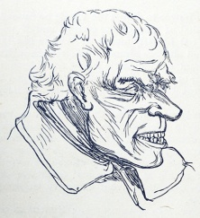 A sketch of the face of a man with a long nose and protuding jaw baring his teeth.