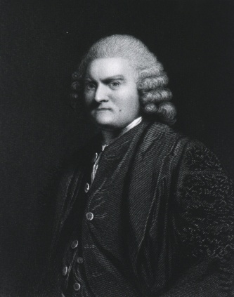 A formal engraved portrait of Pringle in a suit and wig.