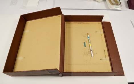 An open box built of board an library cloth showing wear on the inside and containing an indicator strip and color guage.