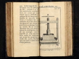 An illustration of a wooden press with a screw