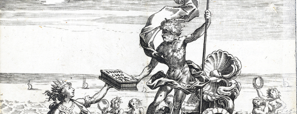A 15th century engraving depicting an indiginous south american handing a box marked Inda Chocolata to Posidan , standing on a chariat holding a trident .
