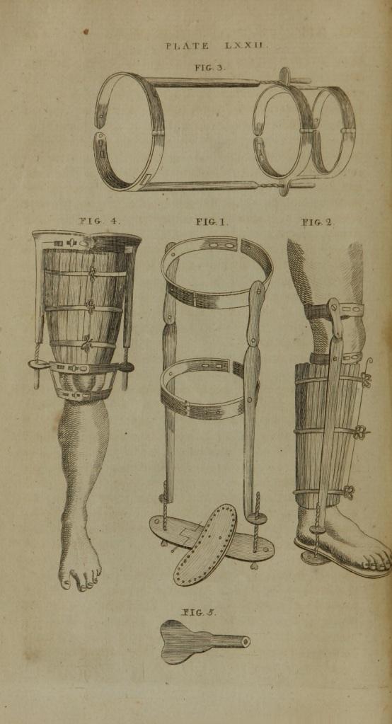 Four drawings of metal leg braces.