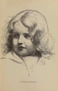 An engraved portrait of a young child with long hair and a round face.