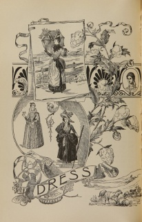 A collage of scroll work, sheep, silkworms, and a cotton plant showing fashions with long skirts, bustles, collars and hats.
