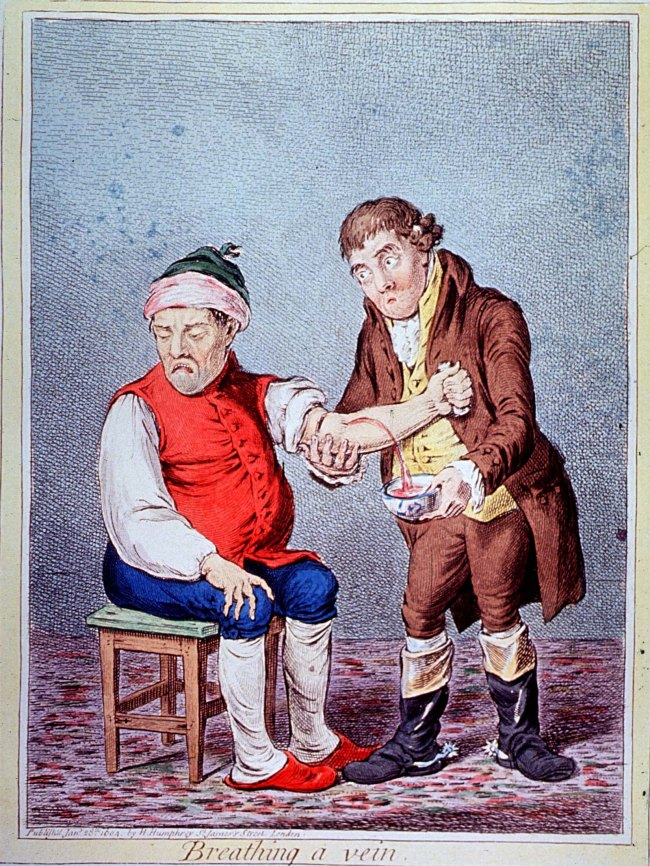 Drawing: A seated man looks away as another man directs a stream of blood from the first man's arm into a bowl.