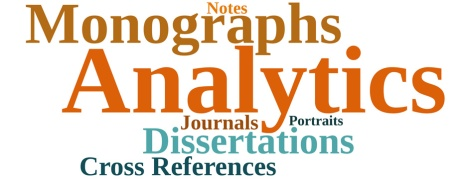 A data visualization made up of the following words, from large to small: Analytics, Monographs, Dissertationis, Cross References, Journals, Notes, Portraits.