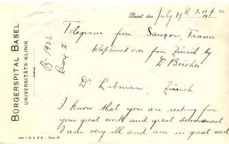 The front of a handwritten telegram from Sarah Bernhardt to Dr. Emanuel Libman.
