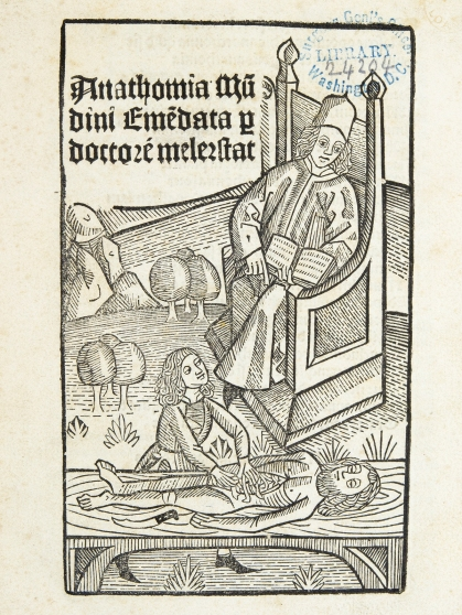 A physician in a chair displays a book and points to a body being opened by a surgeon.