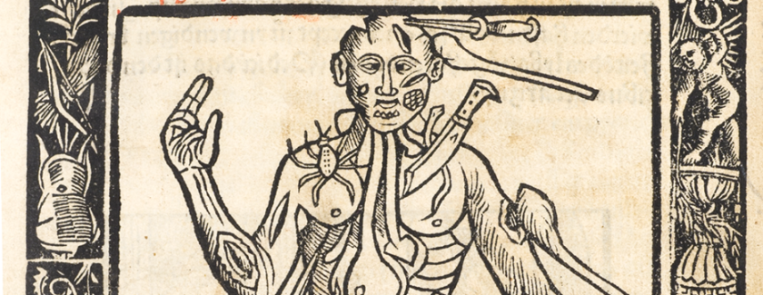 Intricate woodcut illustration of a man with many wounds.