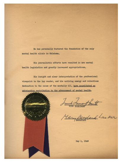 The second page of the Lasker award presented to Mike Gorman on May 1, 1948 includint the seal with ribbons of The National Vommitte for Mental HiGiene, Inc.