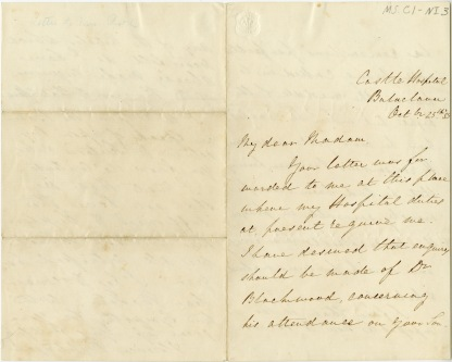 A handwritten letter sent from Castle Hospital, Balaclava on October 25, 1855.