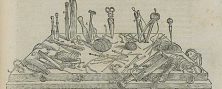A woodcut illustration of large number of saws, knives, probes, scissors and other tools laid out on a table.