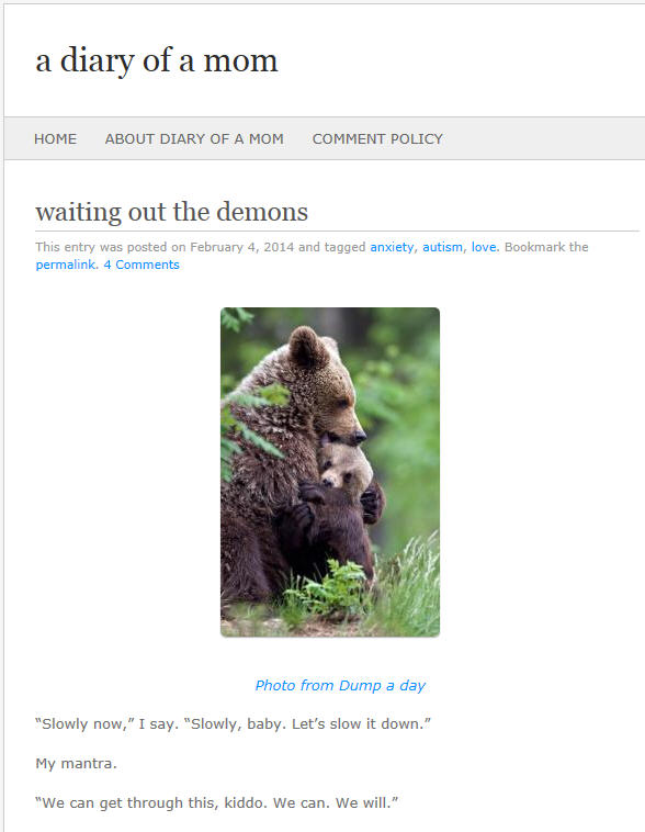 A post called Waiting Out the Demons from the blog a diary of a mom posted February 4, 2014 illustrated with a bear holding a cub.