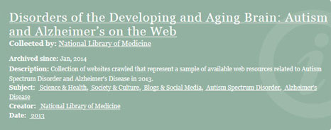 Title banner for the Disorders of the Developing and Aging Brain: Autism and Alzheimer's on the Web collection website.