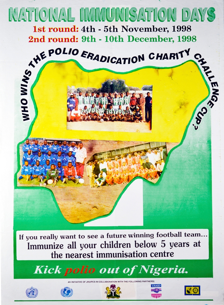 Poster for polio immunization with three color photo reproductions of Nigerian soccer teams, contained within an outline of Nigeria.