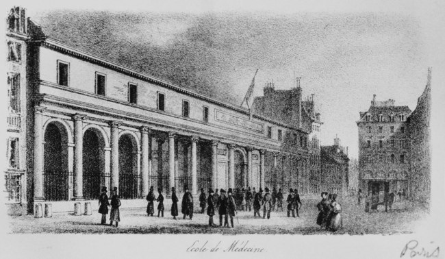 Illustration of a large building with columns and arches flying the French flag.