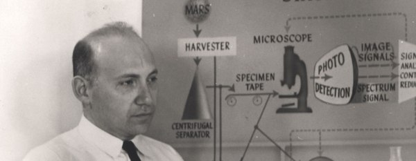 A man in a tie, holding papers, stands in front of a chart showing stages of a process that begins with Mars.