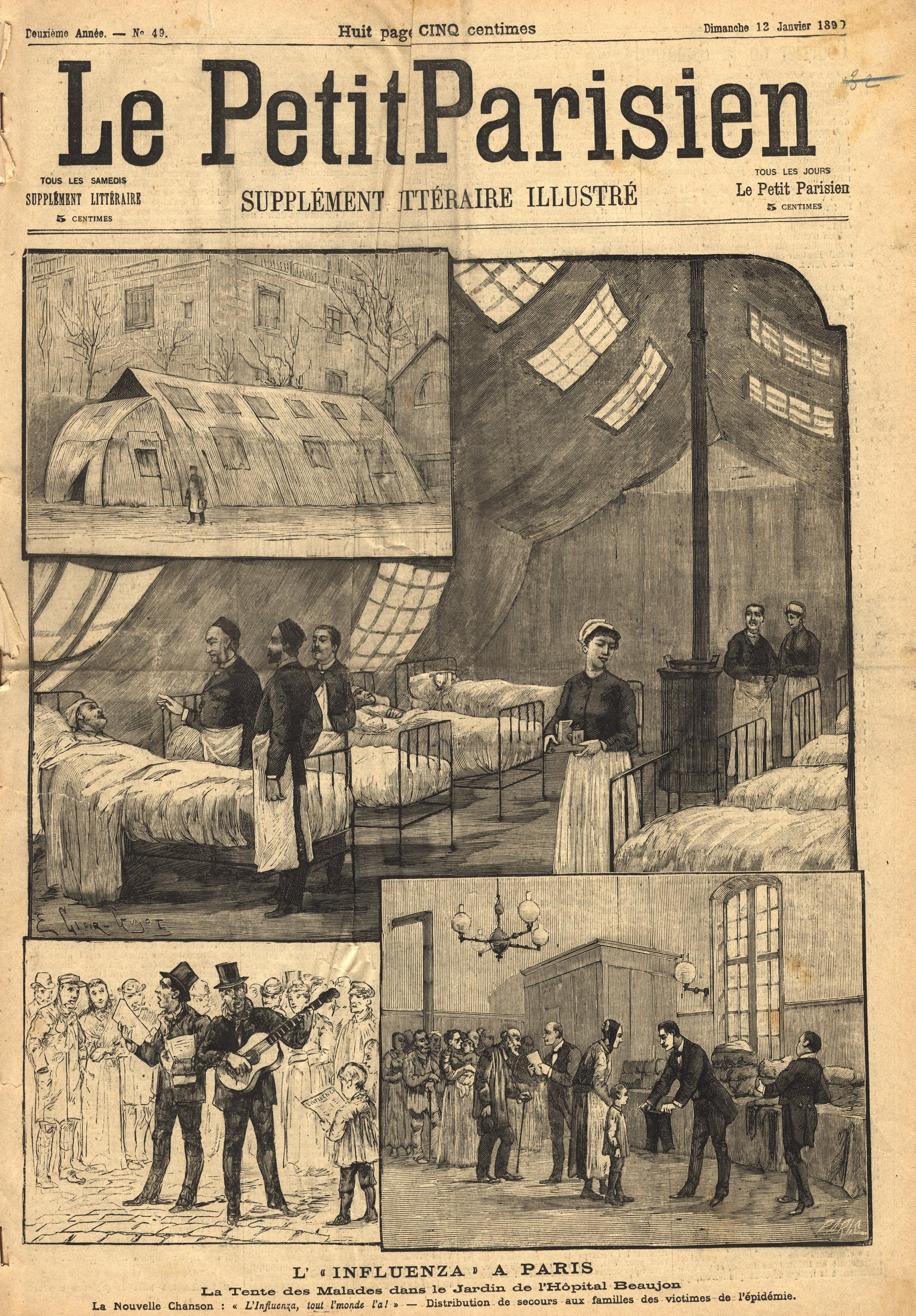 The font page of the Petit Parisien newspaper including 4 illustrations of  a tent, the