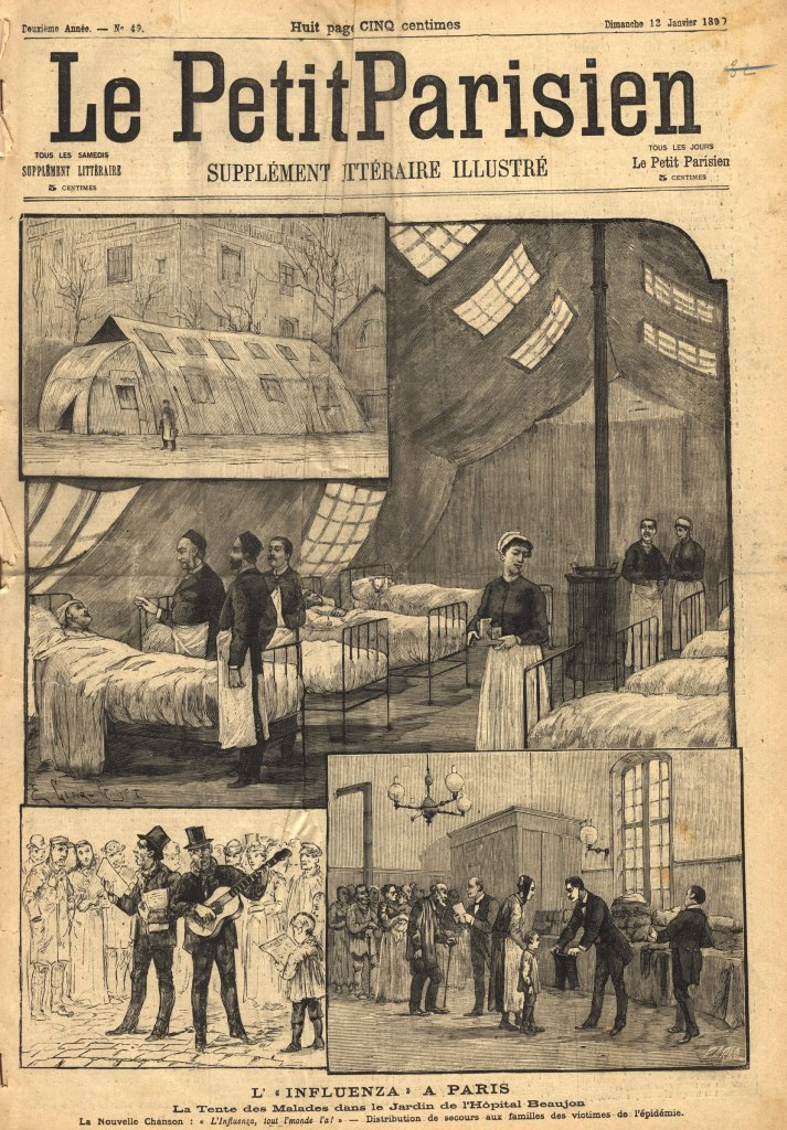The font page of the Petit Parisien newspaper including 4 illustrations of a tent, the tent interior lined with beds, street musicians and people handing out clothes.