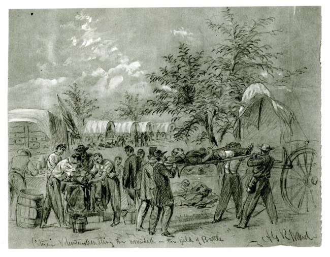 A sketch of people transporting and caring for wounded people outdoors; covered wagons stand in the background.