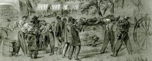 A detail of a sketch of people transporting and caring for wounded people outdoors; covered wagons stand in the background.