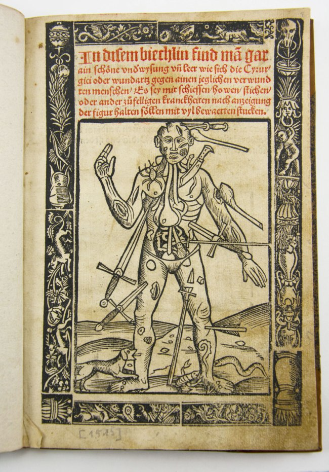 """Title page printed in red and black, with ornamental border; title above """"wound man"""" illustration. The figure of a man whose body has been pierced by a variety of weapons swords, knives, arrows, and clubs. He is also being bitten by a dog, a scorpion, and a spider."""